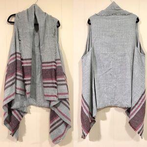 LOFT Outlet gray long vest with fringe